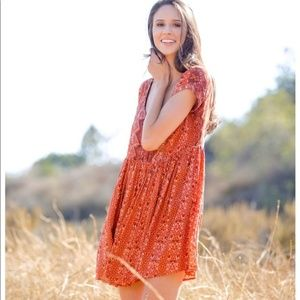Free People Sundown Tribal Dress ~ Small Copper
